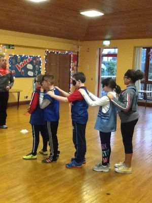A blindfolded teamwork activity in Gaelic with our coach Fergal McCann